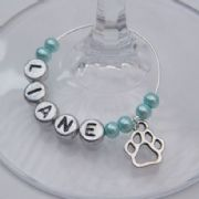 Pawprint Outline Personalised Wine Glass Charm